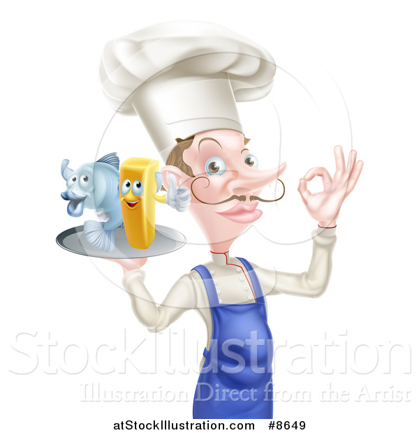 Vector Illustration of a White Male Chef with a Curling Mustache, Gesturing Ok and Holding a Fish and Chips on a Tray