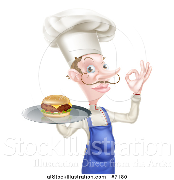 Vector Illustration of a White Male Chef with a Curling Mustache, Holding a Cheeseburger on a Platter and Gesturing Okay