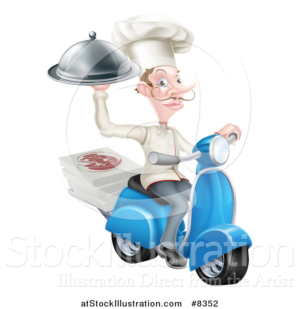 Vector Illustration of a White Male Chef with a Curling Mustache, Holding a Cloche and Delivering Pizzas on a Scooter