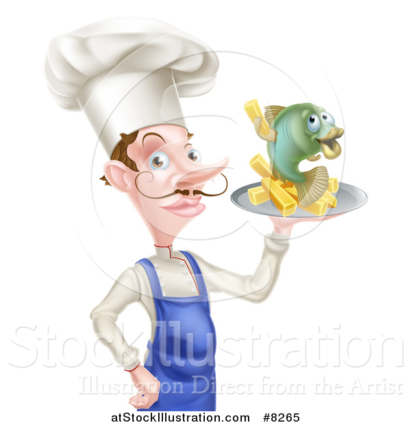 Vector Illustration of a White Male Chef with a Curling Mustache, Holding a Fish and Chips on a Tray