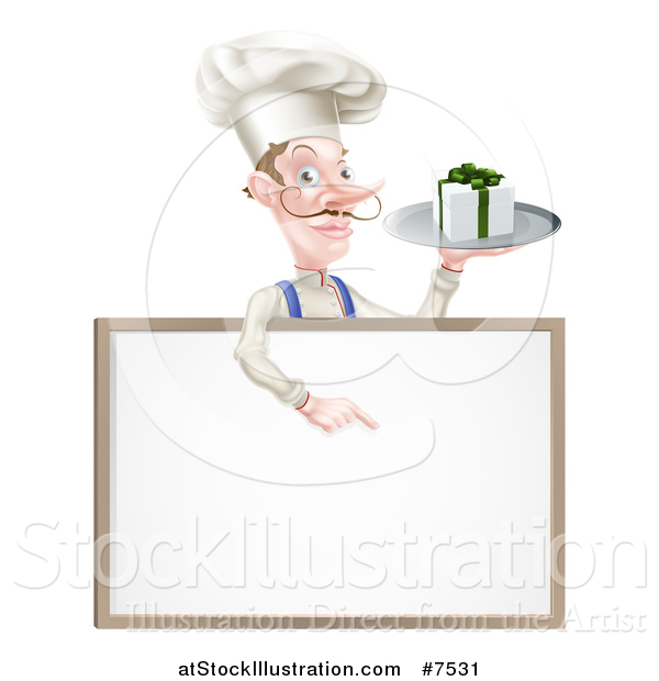 Vector Illustration of a White Male Chef with a Curling Mustache, Holding a Gift on a Platter and Pointing down at a Blank White Board Menu Sign