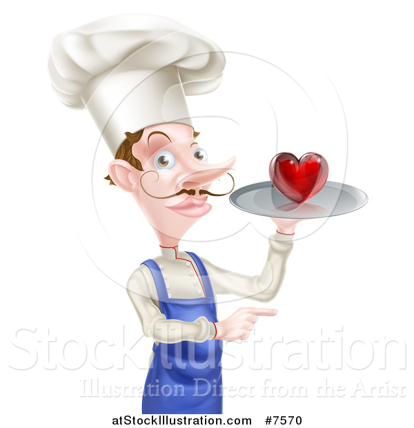 Vector Illustration of a White Male Chef with a Curling Mustache, Holding a Heart on a Tray and Pointing