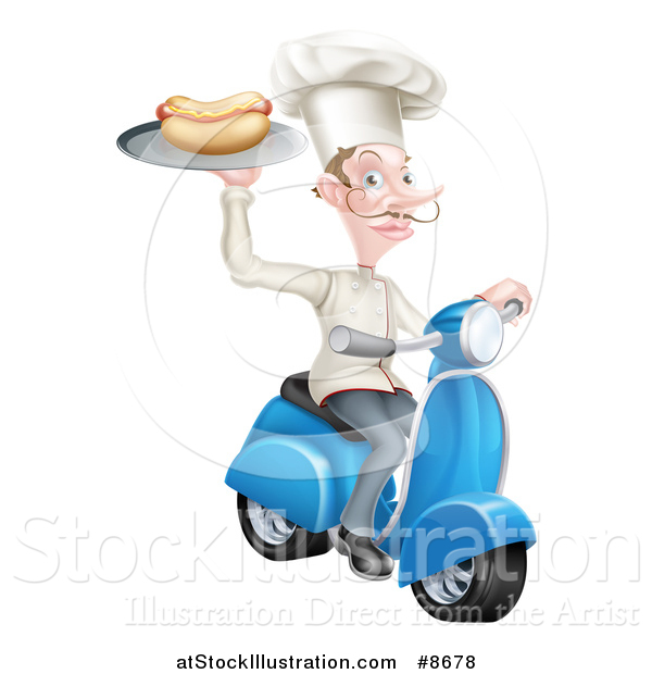 Vector Illustration of a White Male Chef with a Curling Mustache, Holding a Hot Dog on a Scooter