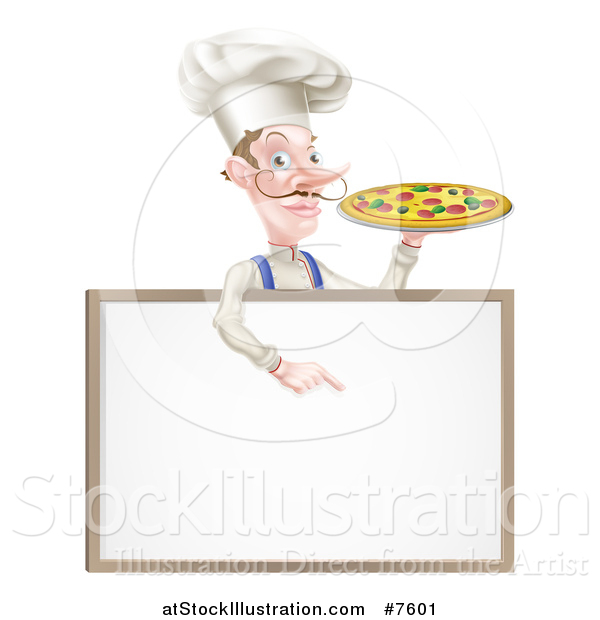 Vector Illustration of a White Male Chef with a Curling Mustache, Holding a Pizza and Pointing down over a Blank Menu Sign Board