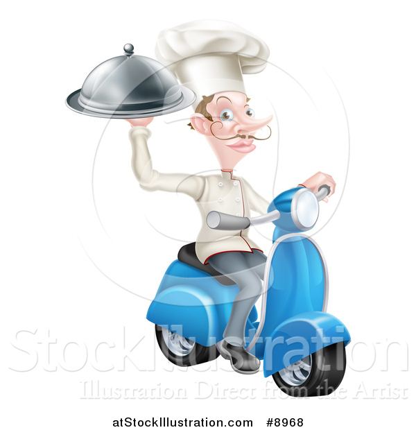 Vector Illustration of a White Male Chef with a Curling Mustache, Holding a Platter on a Delivery Scooter