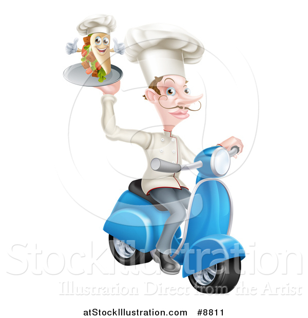 Vector Illustration of a White Male Chef with a Curling Mustache, Holding a Souvlaki Kebab Sandwich on a Scooter