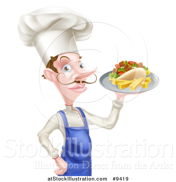 Vector Illustration of a White Male Chef with a Curling Mustache, Holding a Souvlaki Kebab Sandwich on a Tray