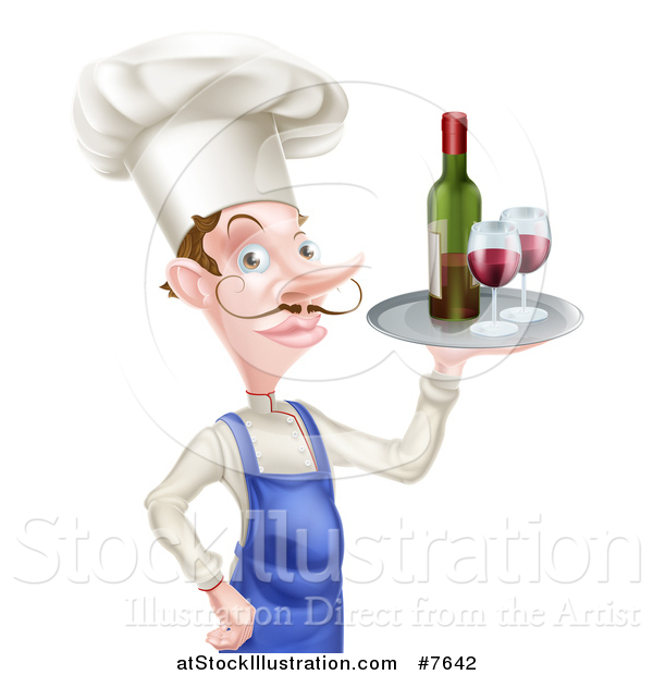 Vector Illustration of a White Male Chef with a Curling Mustache, Holding a Tray with Red Wine