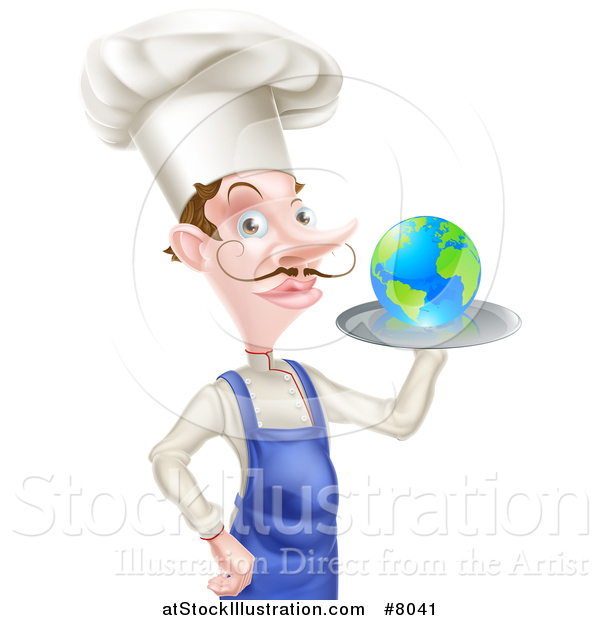 Vector Illustration of a White Male Chef with a Curling Mustache, Holding Earth on a Platter