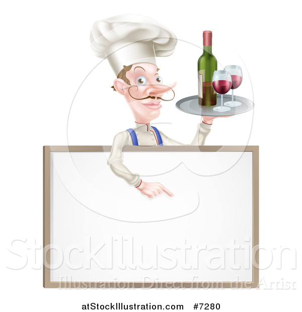 Vector Illustration of a White Male Chef with a Curling Mustache, Pointing down and Holding a Tray with Red Wine over a Blank Menu Sign Board
