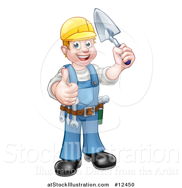 Vector Illustration of a White Male Mason Worker Holding a Trowel and Giving a Thumb up