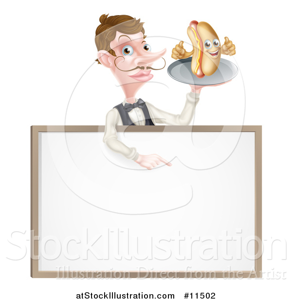 Vector Illustration of a White Male Waiter with a Curling Mustache, Holding a Hot Dog on a Platter over a Blank Menu Sign