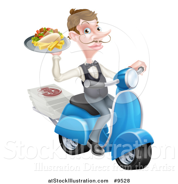 Vector Illustration of a White Male Waiter with a Curling Mustache, Holding a Souvlaki Kebab Sandwich and Fries on a Scooter