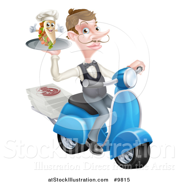 Vector Illustration of a White Male Waiter with a Curling Mustache, Holding a Souvlaki Kebab Sandwich on a Scooter