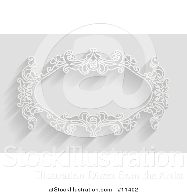 Vector Illustration of a White Ornate Vintage Floral Frame, on Gray with Shadows