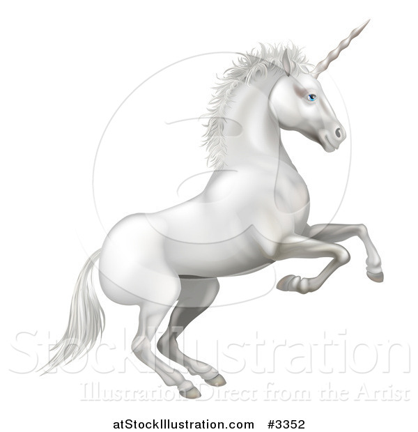 Vector Illustration of a White Rearing Unicorn