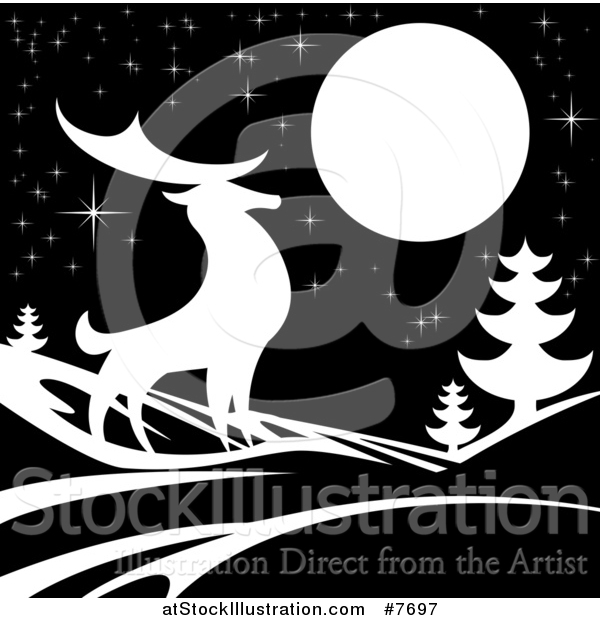 Vector Illustration of a White Silhouetted Buck Deer with Evergreens Under a Full Moon at Night