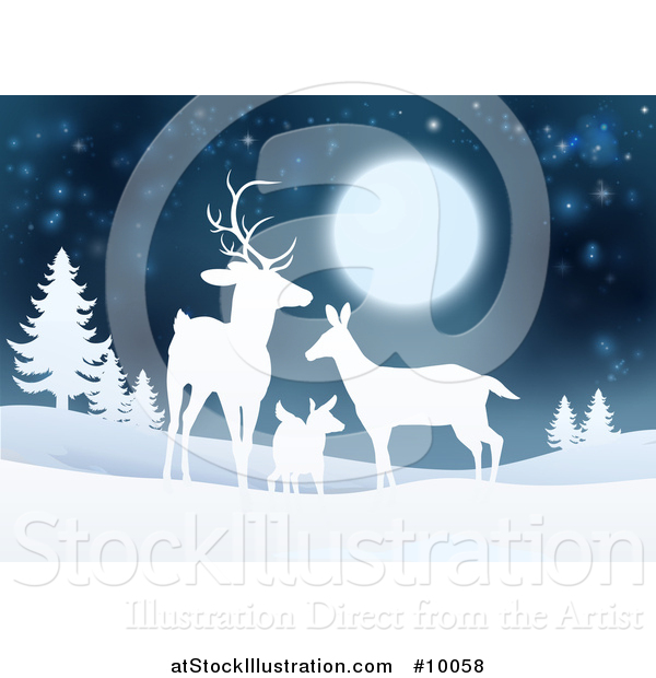 Vector Illustration of a White Silhouetted Deer Family Under a Full Moon in a Winter Landscape at Night