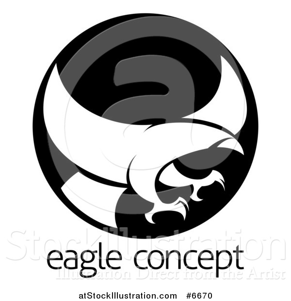 Vector Illustration of a White Silhouetted Eagle or Hawk Reading to Grab Prey in a Black Circle over Sample Text