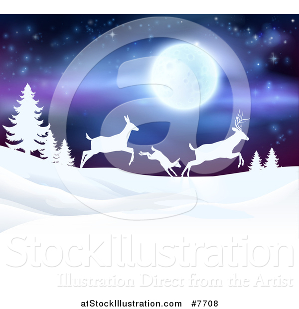 Vector Illustration of a White Silhouetted Family of Deer Leaping over Snowy Hills and Evergreens Under a Full Moon