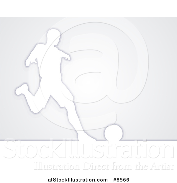 Vector Illustration of a White Silhouetted Male Soccer Player in Action, over Gray