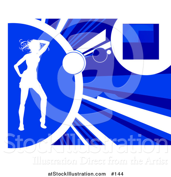 Vector Illustration of a White Silhouetted Woman Dancing on a Blue Background