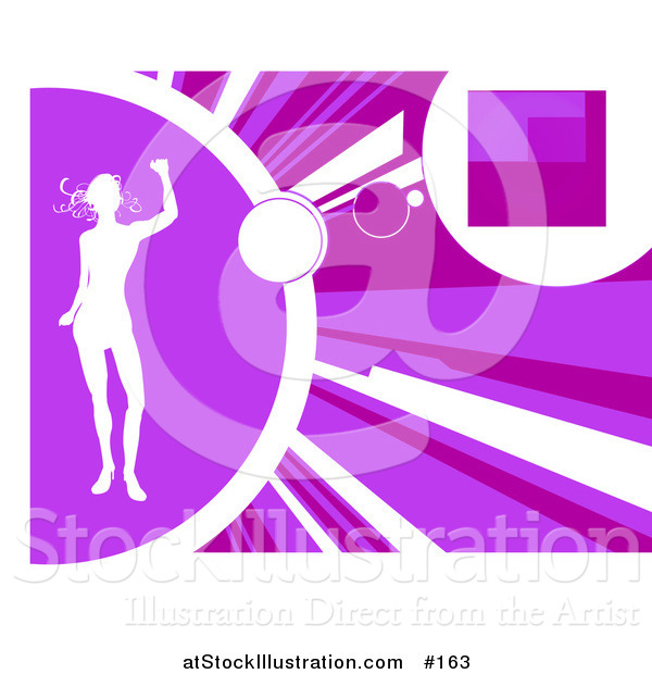 Vector Illustration of a White Silhouetted Woman Dancing on a Purple Background with Rays