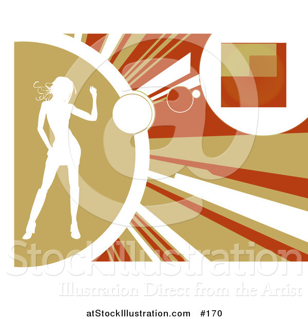 Vector Illustration of a White Silhouetted Woman Dancing on a Yellow, Orange and Brown Background. Background
