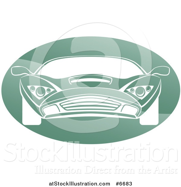 Vector Illustration of a White Sports Car in a Shiny Green Oval