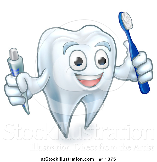 Vector Illustration of a White Tooth Character Holding a Toothbrush and Tube of Toothpaste