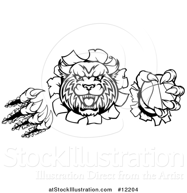Vector Illustration of a Wildcat Mascot Shredding Through a Wall with a Cricket Ball, Black and White