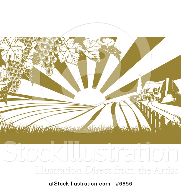 Vector Illustration of a Winery Farm House and Rolling Hills with Vineyard Grape Vines and Sun Rays in Green and White