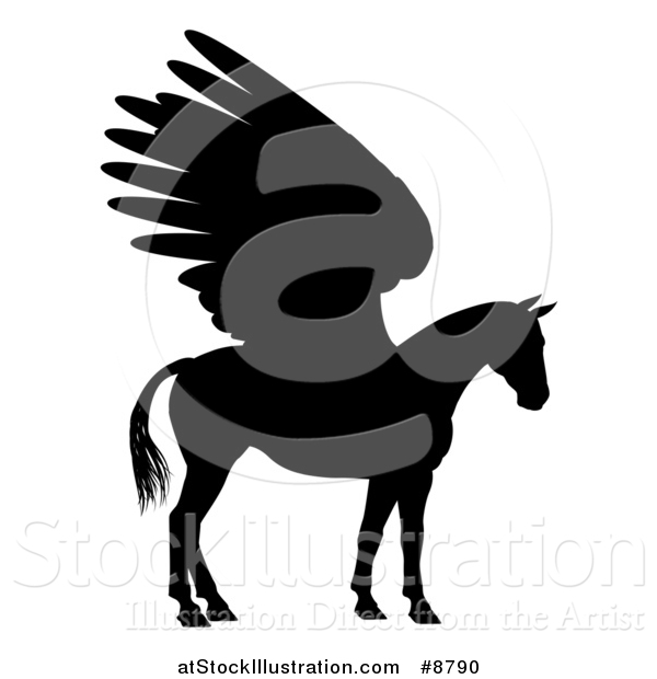 Vector Illustration of a Winged Pegasus Horse in Profile