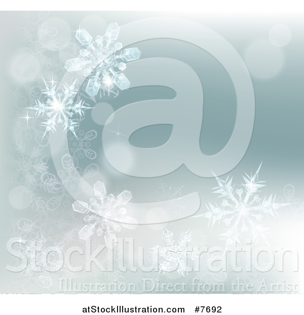Vector Illustration of a Winter Background with Bokeh Flares and Snowflakes