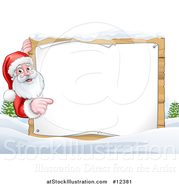 Vector Illustration of a Winter Landscape with Santa Pointing Around a Blank Sign