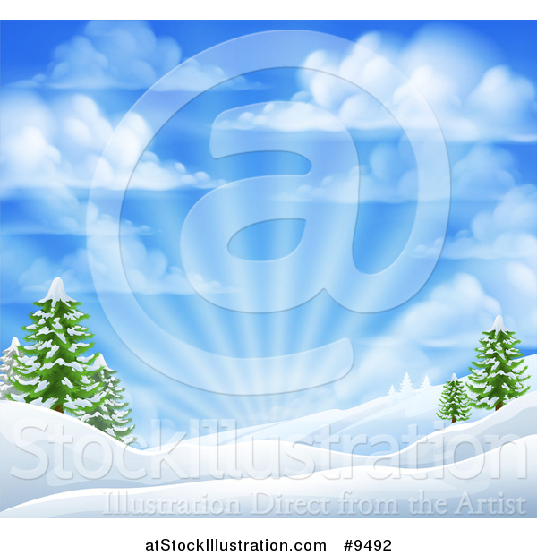 Vector Illustration of a Winter Morning Sunrise with Rays and a Blue Cloudy Sky over Snow Covered Hills and Evergreen Trees