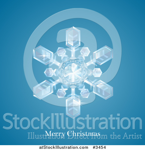 Vector Illustration of a Winter Snowflake with Merry Christmas Text on Blue