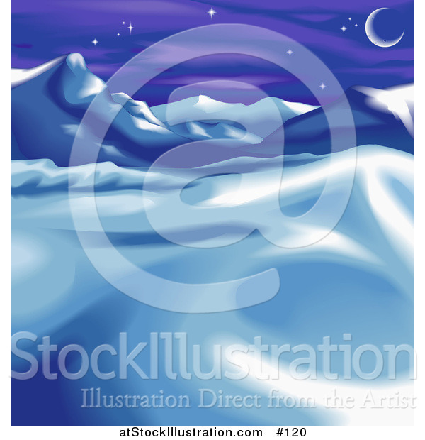 Vector Illustration of a Wintry Landscape with Snow, Mountains and the Moon