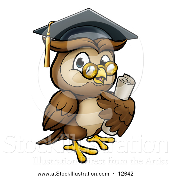 Vector Illustration of a Wise Cartoon Owl Wearing Glasses and Graduation Cap While Carrying a Diploma