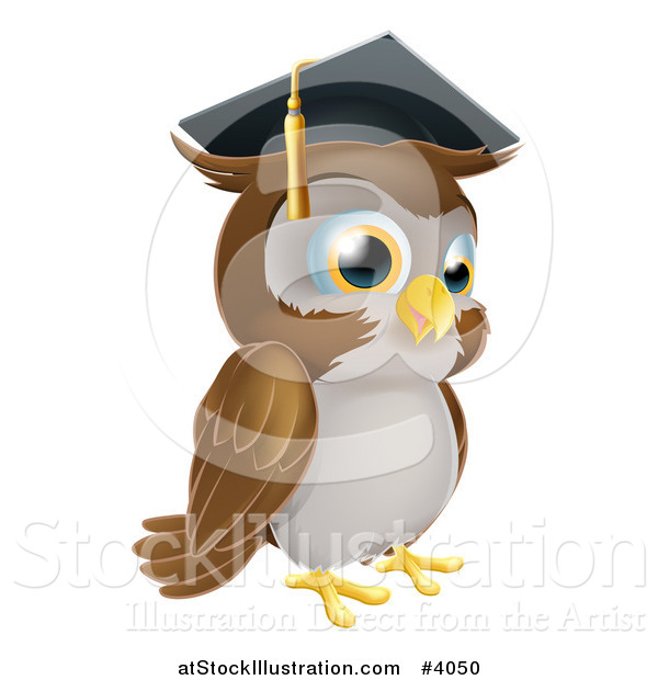 Vector Illustration of a Wise Professor Owl Wearing a Graduation Cap