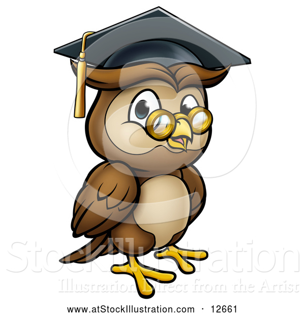 Vector Illustration of a Wise Professor Owl with Glasses and Graduation Cap