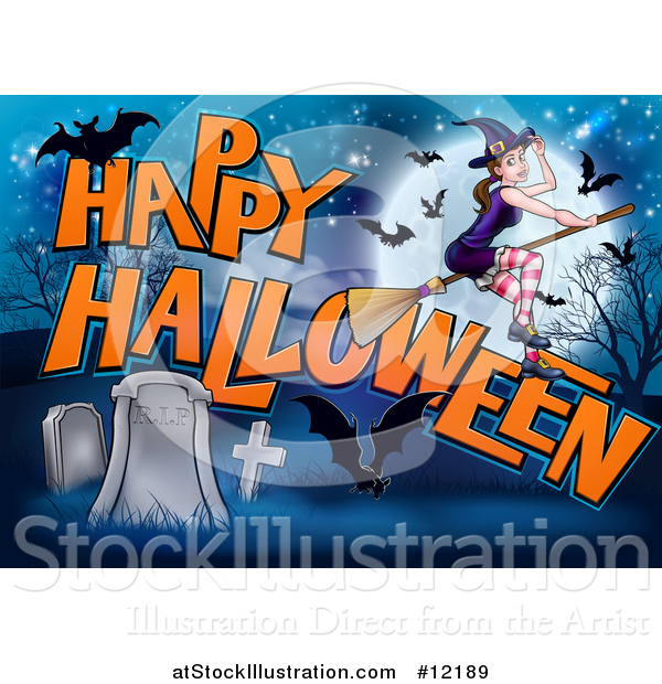Vector Illustration of a Witch and Bats Flying over a Full Moon, Happy Halloween Greeting and Cemetery