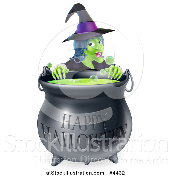 Vector Illustration of a Witch Behind a Boiling Happy Halloween Cauldron