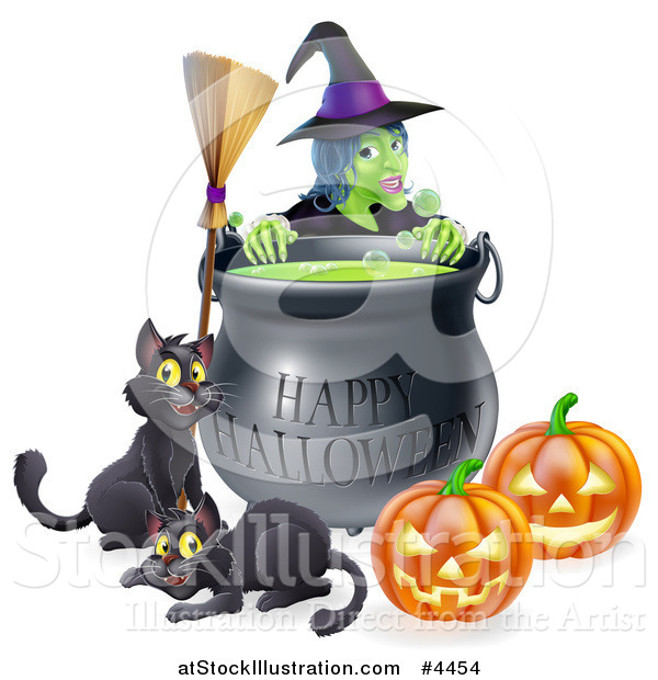 Vector Illustration of a Witch Behind a Boiling Happy Halloween Cauldron with a Broomstick Black Cats and Jackolanterns