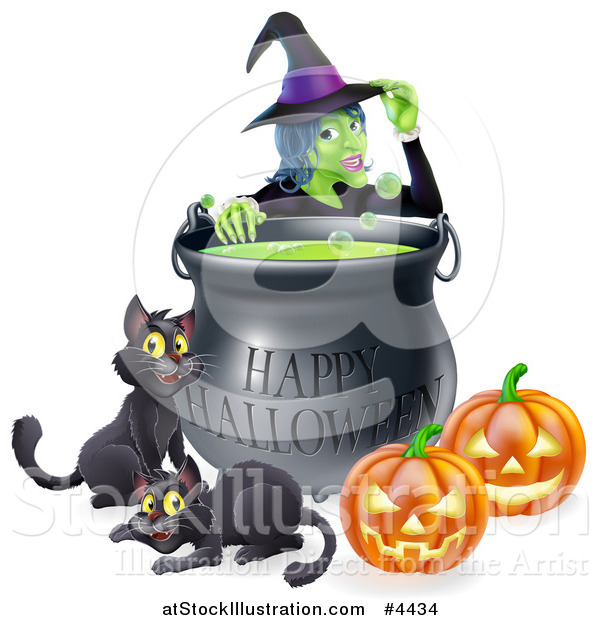 Vector Illustration of a Witch Behind a Boiling Happy Halloween Cauldron with Black Cats and Jackolanterns
