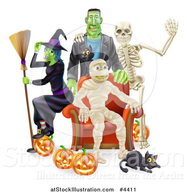 Vector Illustration of a Witch Frankenstein and Skeleton Around a Seated Mummy with a Black Cat and Halloween Pumpkins
