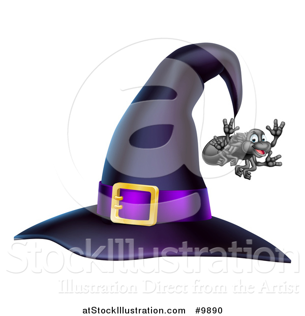 Vector Illustration of a Witch Hat with a Purple Band and Dangling Happy Spider