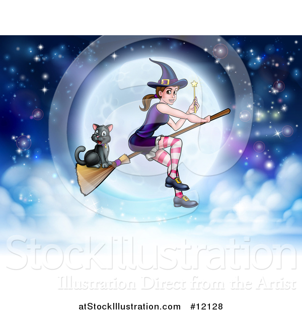 Vector Illustration of a Witch Holding a Magic Wand and Cat Flying on a Broomstick over a Full Moon