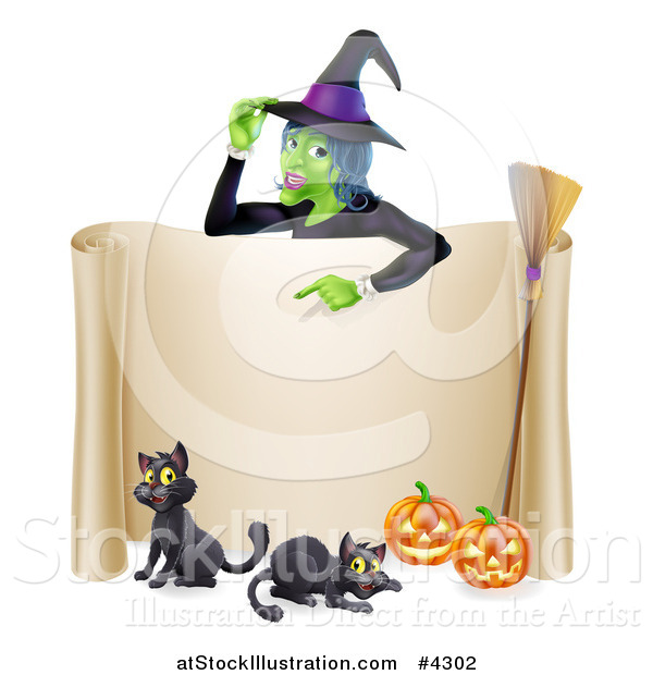 Vector Illustration of a Witch Pointing down to a Scroll Sign with Black Cats Halloween Pumpkins and a Broomstick