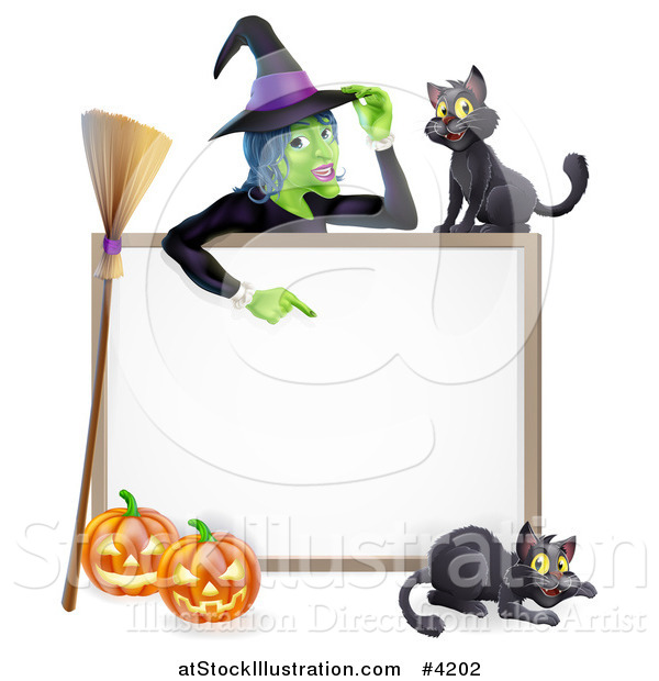 Vector Illustration of a Witch Pointing down to a White Board Sign with Black Cats Halloween Pumpkins and a Broomstick